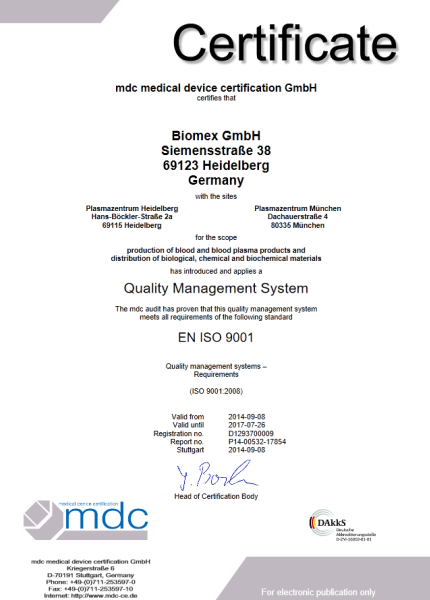 ISO 9001 Certificate - Biomex